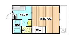 コーポ青雲『唐原1丁目』[2階]の間取り