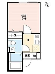 JR京浜東北・根岸線 上中里駅 徒歩9分の賃貸アパート 2階1Kの間取り