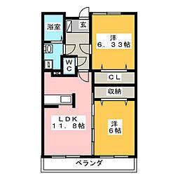 セレニータ A棟[2階]の間取り