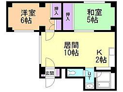 LOU菊水元町 3階2LDKの間取り
