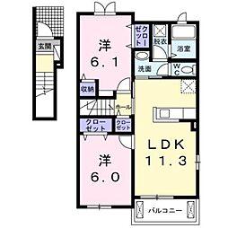 JR東海道本線 二宮駅 バス7分 おおいそ学園下車 徒歩4分の賃貸アパート 2階2LDKの間取り