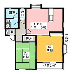 オリオンビレッジB[1階]の間取り