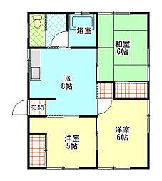 フカサワアパートメントC[2階]の間取り