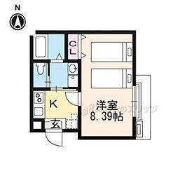 近鉄京都線 東寺駅 徒歩5分の賃貸マンション 3階1Kの間取り