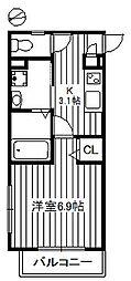 東武東上線 東武練馬駅 徒歩9分の賃貸マンション 4階1Kの間取り