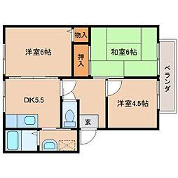 奈良県奈良市東九条町の賃貸アパートの間取り