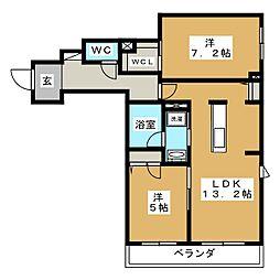 GRAND HILLS KATAKURA 2階2LDKの間取り