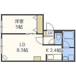 Halley View 東札幌[4階]の間取り
