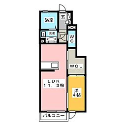 静岡県静岡市清水区八坂北1丁目の賃貸アパートの間取り