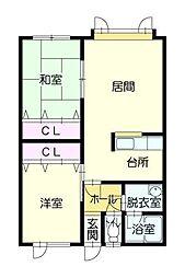 7・6マンション[1階]の間取り