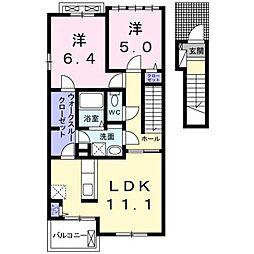西鉄天神大牟田線 蒲池駅 3.8kmの賃貸アパート 2階2LDKの間取り