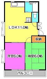東京都東大和市向原3丁目の賃貸アパートの間取り