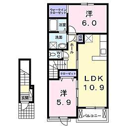 北条町西高室アパートA[202号室]の間取り