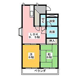 レビュート徳重[2階]の間取り