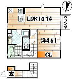D−room片野新町[2階]の間取り