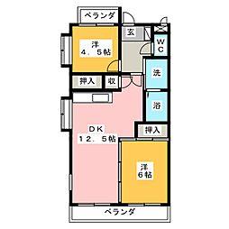 愛知県名古屋市南区本星崎町字西田の賃貸マンションの間取り