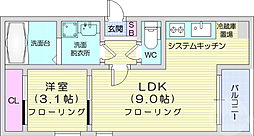 JR仙石線 榴ヶ岡駅 徒歩17分の賃貸アパート 1階1LDKの間取り