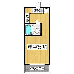 サンフェリシアン東福寺 2階ワンルームの間取り