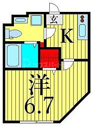 JR山手線 田端駅 徒歩10分の賃貸マンション 1階1Kの間取り