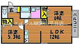 岡山県赤磐市桜が丘東4丁目の賃貸アパートの間取り