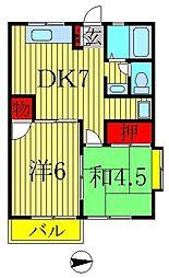 松十コーポB[B201号室]の間取り