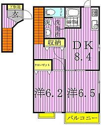 千葉県野田市堤台の賃貸マンションの間取り
