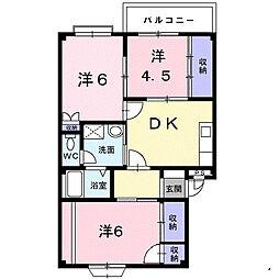 福岡県福岡市西区野方5丁目の賃貸アパートの間取り