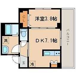 JR山手線 目黒駅 徒歩8分の賃貸マンション 3階1DKの間取り