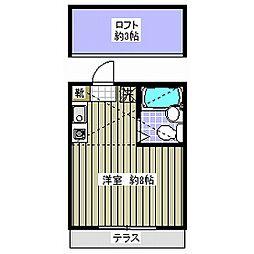 東京都世田谷区上北沢4丁目の賃貸アパートの間取り