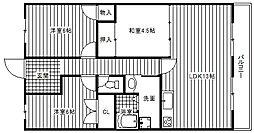 大阪府松原市天美我堂2丁目の賃貸マンションの間取り