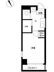 東京都新宿区原町2丁目の賃貸マンションの間取り