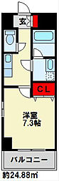 U.BASIC REEF三萩野 6階1Kの間取り