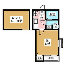 ピュア箱崎 八番館[1階]の間取り