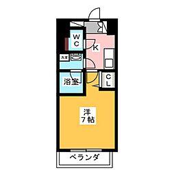 ヴィークブライト名古屋東別院 13階1Kの間取り