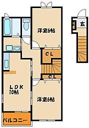 ベルデ・ビエントⅡ番館[2階]の間取り