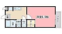 京都府京都市山科区安朱桟敷町の賃貸アパートの間取り