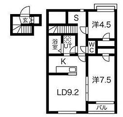 JR仙山線 愛子駅 徒歩8分の賃貸アパート 2階2SLDKの間取り