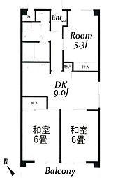 サンライズマンションB棟[2階]の間取り