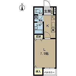 新潟県新潟市中央区上所中2丁目の賃貸アパートの間取り