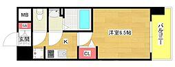 プレミアムコート阿波座WEST 11階1Kの間取り