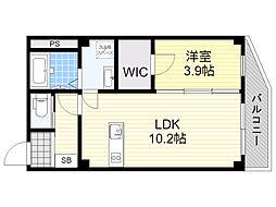 上新庄PJ 2階1LDKの間取り