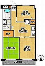メゾン三田赤坂[6階]の間取り