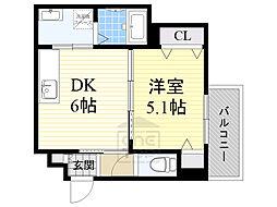 Osaka Metro今里筋線 緑橋駅 徒歩13分の賃貸アパート 3階1DKの間取り