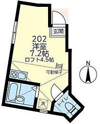 JR京浜東北・根岸線 磯子駅 徒歩13分の賃貸アパート 2階ワンルームの間取り