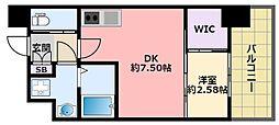 阪神本線 鳴尾・武庫川女子大前駅 徒歩6分の賃貸マンション 6階1DKの間取り