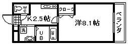 アバンウェル泉佐野[507号室]の間取り