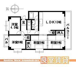 愛知県名古屋市瑞穂区松園町2丁目の賃貸マンションの間取り