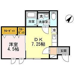 東京都大田区新蒲田1丁目の賃貸アパートの間取り