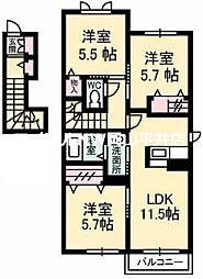 JR宇野線 妹尾駅 徒歩20分の賃貸アパート 2階3LDKの間取り