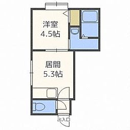 北海道札幌市西区二十四軒四条5丁目の賃貸アパートの間取り